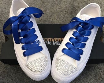 dfc8e55bab74a0 Adults All White Crystal Toe Converse with Royal Blue ribbon laces Bride  Bling bridesmaid
