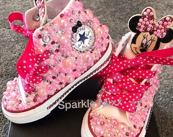 3ee13e15ac3a Minnie Mouse themed Disney High Converse Chucks Sneakers Pink Pearls    Crystals sparkly Diamante ribbon laces