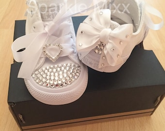 607a12fb2ee4 Kids All White Swarovski Crystal Converse with heart and bow detail  Bridesmaid