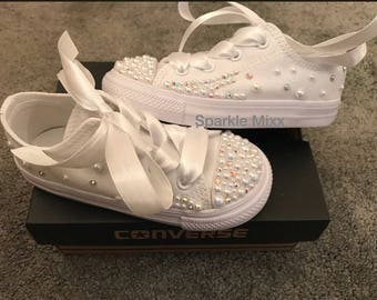 3796a389867 Kids stunning Crystal and Pearl White Converse with scatter crystal sides    ribbon laces perfect party shoes. Flower girl bridesmaid