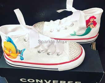 5a6c61d4ffaa Kids Little Mermaid Ariel Flounder White High Top Converse Shoes with or  without crystals