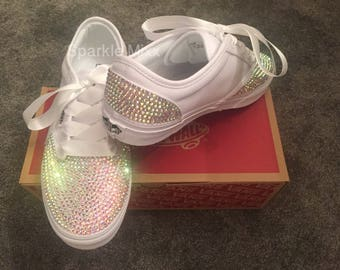 b10ba09b2e13 Adults White Vans Trainers with Rainbow Crystals Bling wedding prom  bridesmaid