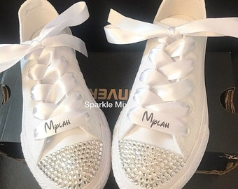 5c44c7d6fc6e Kids All White Crystal Converse with Personalised Ribbon Laces Bridesmaid