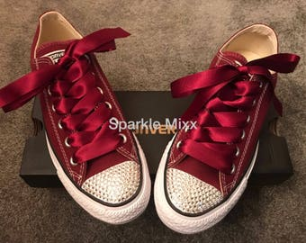 c3f7ae5ab29 Adults Maroon Crystal Bling Converse with Matching Maroon Ribbon bride  bridesmaid