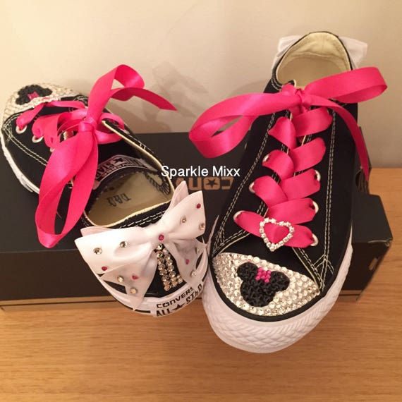 Adults Minnie Mouse Style Black Converse Swarovksi Crystal  e40251e4d