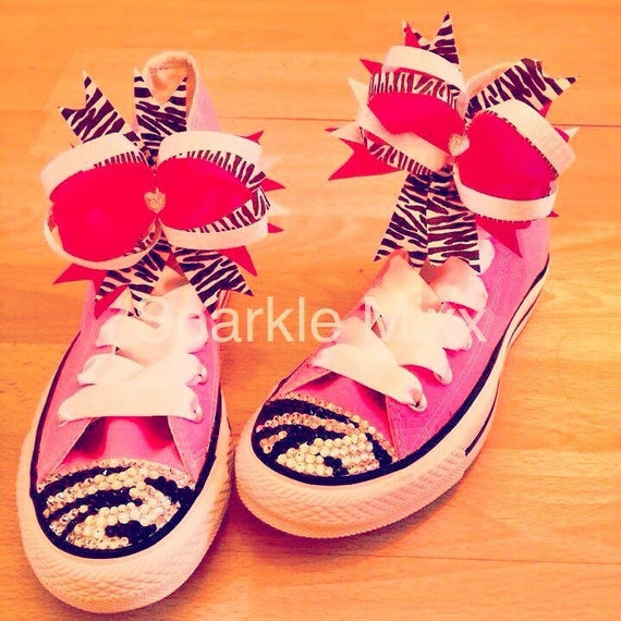 15df6bc93be6 Adults Pink Swarovksi Crystal Bling Converse with Zebra Print