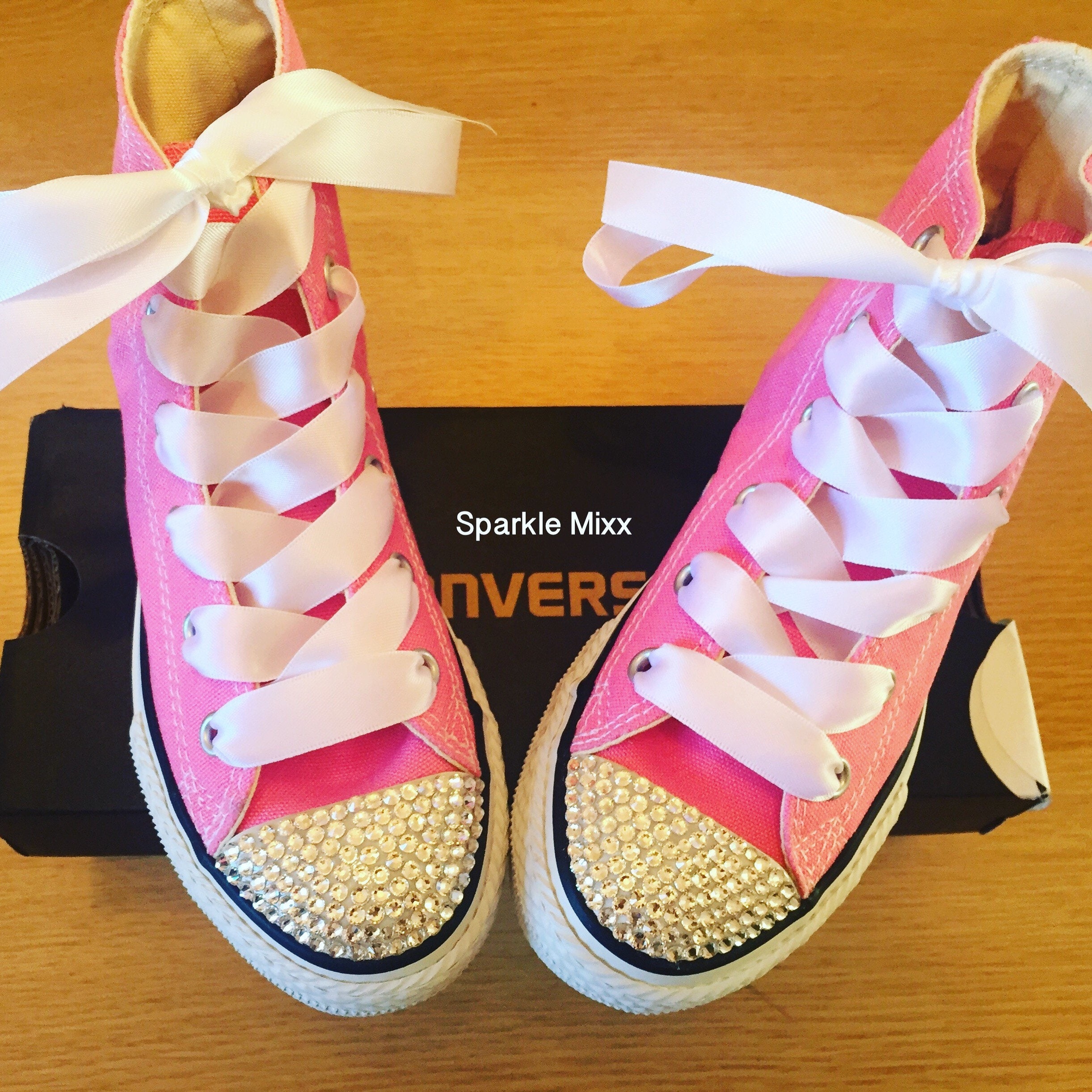 cbf5059afce9e1 Pink converse with crystal toes and white ribbon laces all