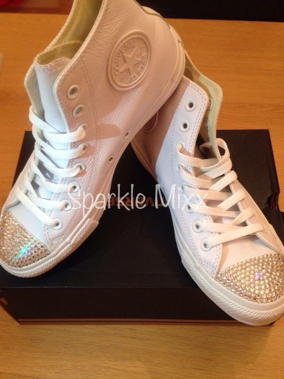 c013bfb23084 Adults White Mono Converse with Swarovski crystal toes