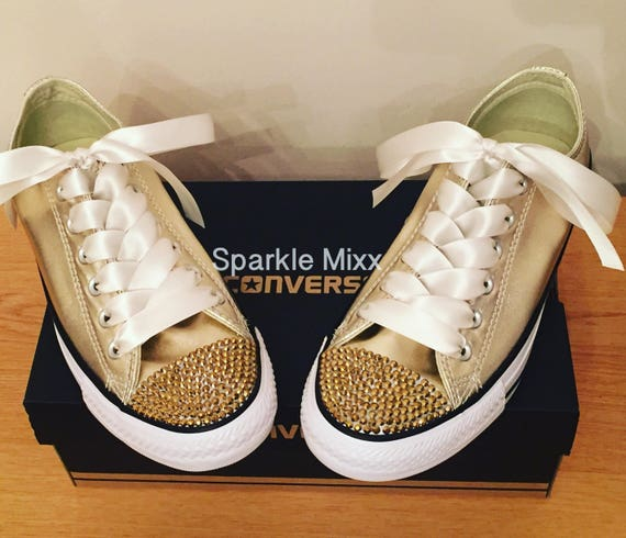 Gold Converse with Gold Crystal Toes and Ivory Ribbon Laces Prom Bride flowergirl BRIDESMAID adult sizes