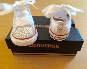 Adults White Swarovksi Crystal Bling Converse wedding prom bridesmaid