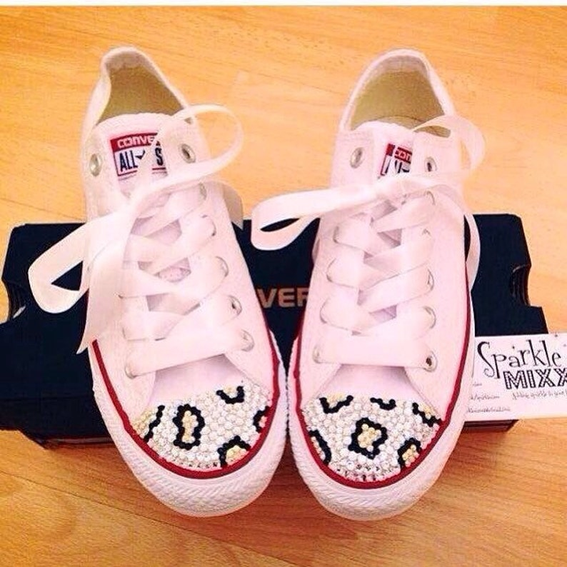 Adult White Swarovksi Crystal Bling Converse with Leopard  0f14aa1f7