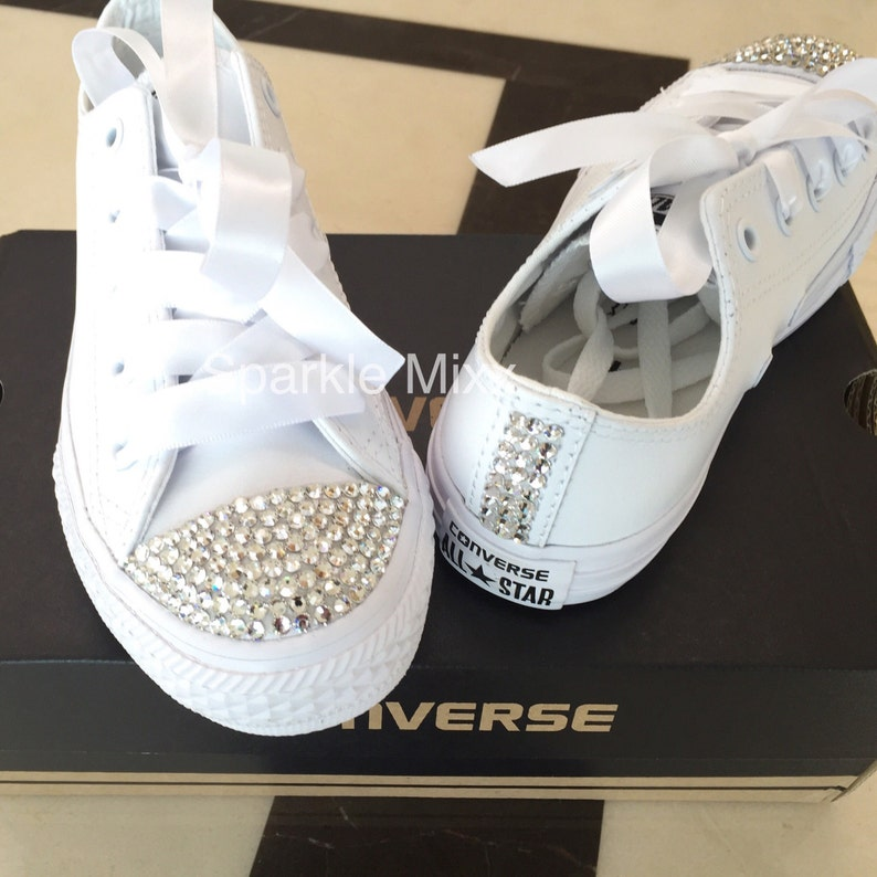 All White Converse with the toes and back strip crystallised  bcf839bdbe