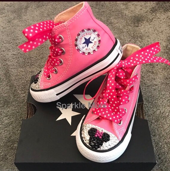 Kids Pink Minnie Mouse High Top Crystal Converse with pink polka dot ribbon laces disney holiday party shoes