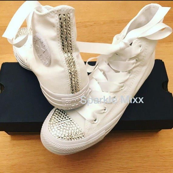 c0c5fc26b4c4 Adults All White Converse with Clear Crystal toes and back