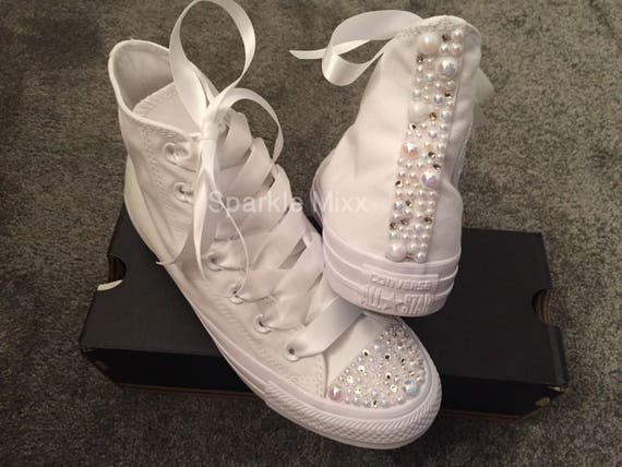 Adults White Swarovksi Crystal and Pearl High Top Converse  bc4abb23e