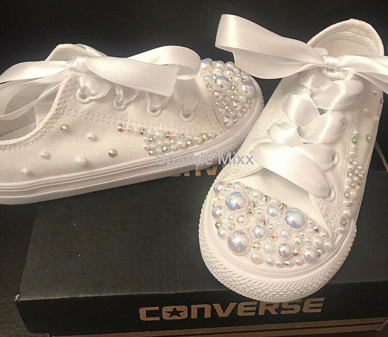 35259db8e0cc Kids stunning Crystal and Pearl White Converse with scatter