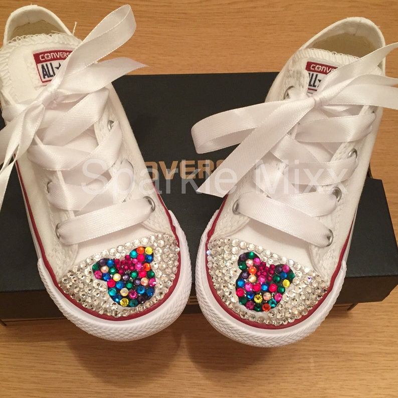 1f4f56b1360c Adults Minnie Mouse multi coloured Converse Swarovksi Crystal