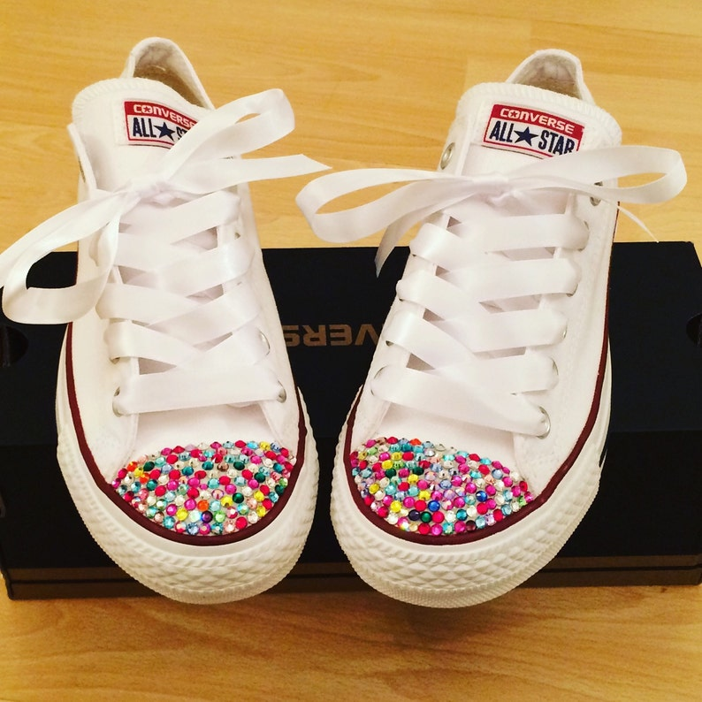 18d49cae174c4 Adults White Converse with Multi Coloured Swarovski Crystal Toes BLING  Wedding PROM Bridesmaid