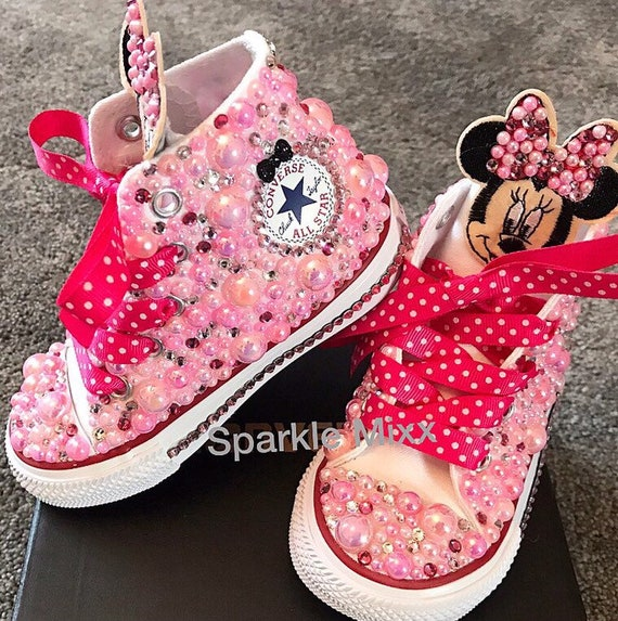 Minnie Mouse themed Disney High Converse Chucks Sneakers Pink Pearls & Crystals sparkly Diamante ribbon laces