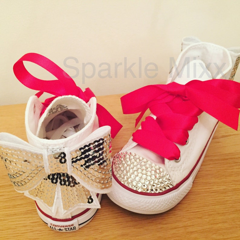 85eb711f400f Kids Swarovski Crystal White High Top Converse with Sequin Bow
