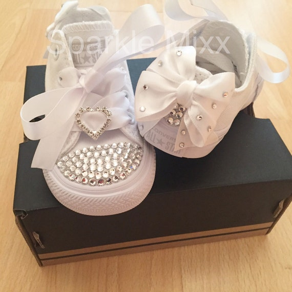 Kids All White Swarovski Crystal Converse with heart and bow  4d59a895571f