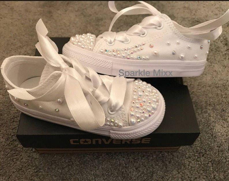 Kids stunning Crystal and Pearl White Converse with scatter  c06e6e6da88e