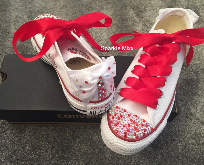 22b7430cd4df09 Adults White Converse with Red and Rainbow Crystals and Red