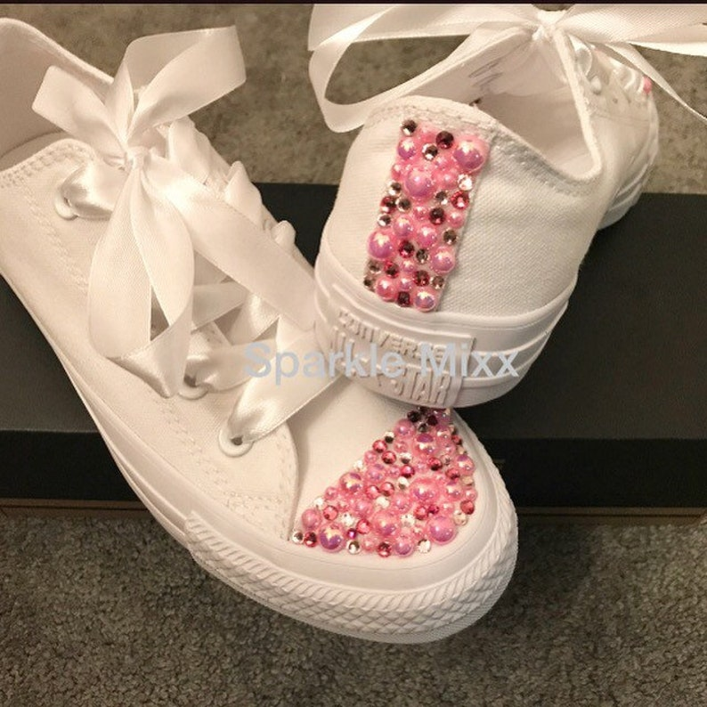 196ae77a728a53 All White Converse with Pink Sparkly Pearl and Crystal toes