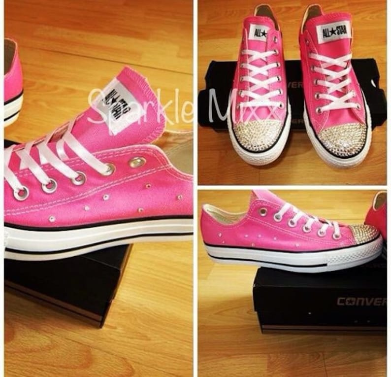 17b543ae8f7d Adults Pink Scatter Crystal Swarovski Converse