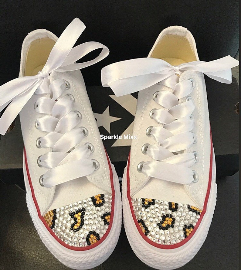 0e27f10d9b906 Adult White Crystal Bling Converse with Leopard Print Detail