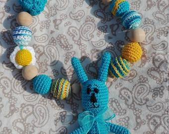 Nursing necklace Teething crochet beads Sling accessories Crochet baby necklace Toy crochet montessori Newborn gift Blue bunny