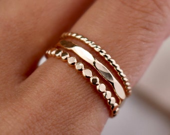 PARADISE SET . Hammered Stacking Ring . Thin Gold Ring . Stack Ring . Minimalist Stackable Ring . Textured Ring . Ring Set . Gold Jewelry