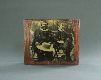 Historic Native American Photo on Lacquered Wood