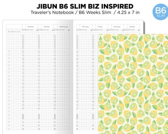 B6 Slim JIBUN Biz Weekly GRID Traveler's Notebook Vertical Japanese Planner Inspired Functional Printable Insert