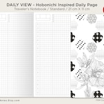 Daily View - Standard Traveler's Notebook Printable Insert - Hobonichi Inspired Do1P - Day on a Page GRID - Minimalist Function Printable