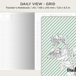 A5 Daily View Grid Traveler's Notebook Printable Insert - Do1P - Minimalist - Functional HOBONICHI Inspired