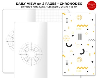 Chronodex DAILY VIEW on 2 Pages - Standard Traveler's Notebook Printable Insert TN