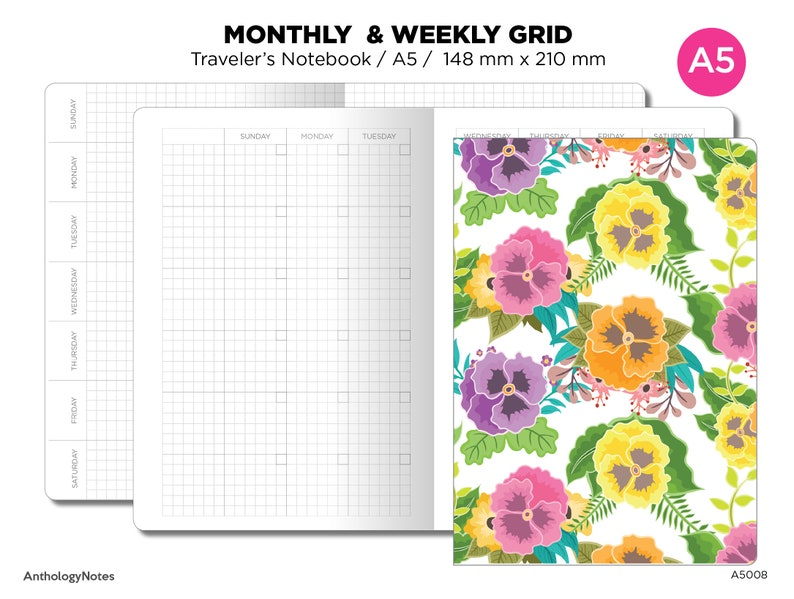 A5 Weekly & Monthly Planner Undated Traveler's Notebook image 0