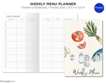 Pocket Weekly MENU Planner Minimalist GRID Printable TN Insert