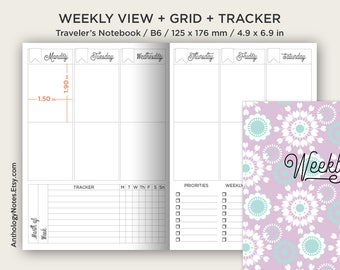 B6 Weekly Vertical Planner for EC Stickers - Traveler's Notebook Printable Insert - Wo2P - w/ Weekly Tracker