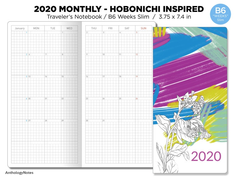 2020 B6 WEEKS Slim Monthly Hobonichi Weeks Inspired Layout image 0