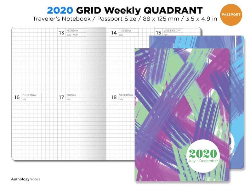 2020 Passport TN Weekly GRID Vertical Traveler's Notebook image 0