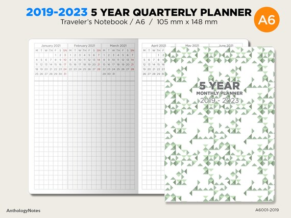 a6 5 year planner 2019 2023 quarterly glance vertical grid for etsy