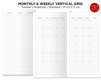 Weekly GRID VERTICAL & Monthly Planner Traveler's Notebook Printable Insert Refill - Standard Size - Minimalist Sunday or Monday Start