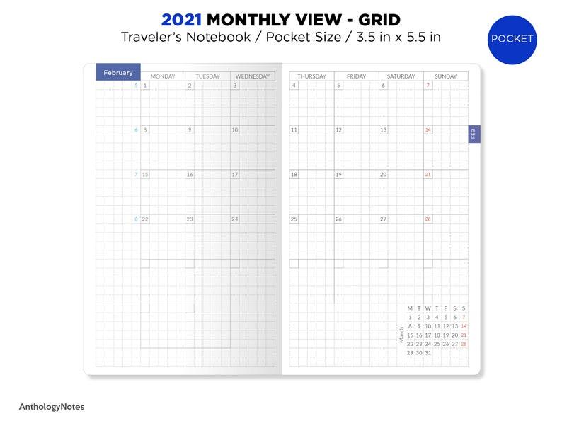 2021 POCKET Monthly GRID Traveler's Notebook Printable | Etsy
