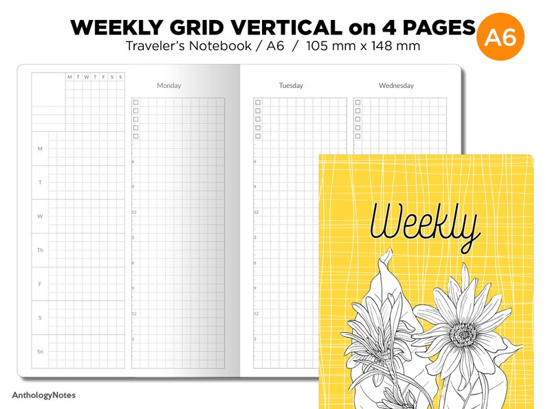 A6 Weekly VERTICAL GRID Traveler's Notebook Wo4P image 0