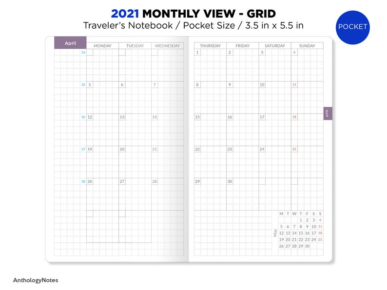 2021 POCKET Monthly GRID Traveler's Notebook Printable | Etsy