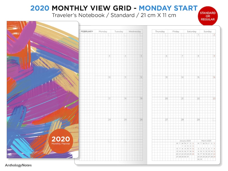 2020 Monthly GRID Standard Size Traveler's Notebook  image 0