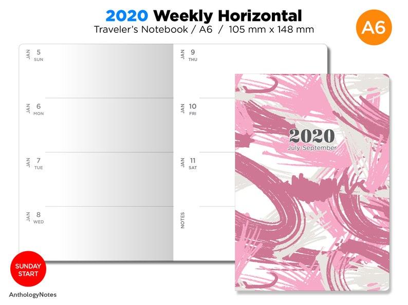A6 2020 Weekly Horizontal SUNDAY Start Printable image 0