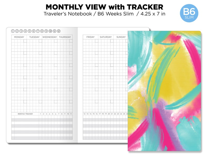 B6 SLIM Monthly View With Tracker GRID Traveler's Notebook image 0